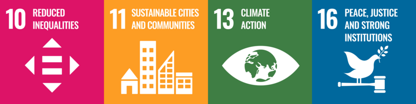 Sustainable Development Goals  10, 11, 13 and 16