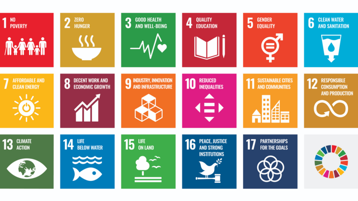 Graphical representation of all 17 Sustainable Development Goals