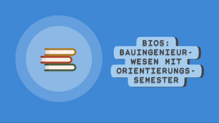 Blue Background with books and the German description of BIOS, Civil Engineering with an Orientation Semester.