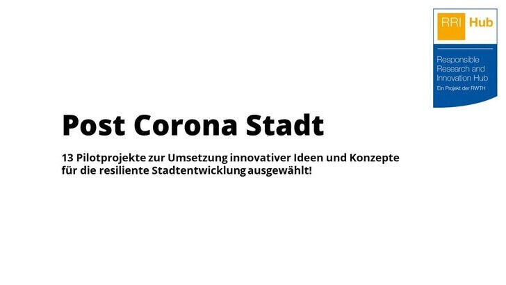 Text that reads Post Corona Stadt and the Logo for RRI